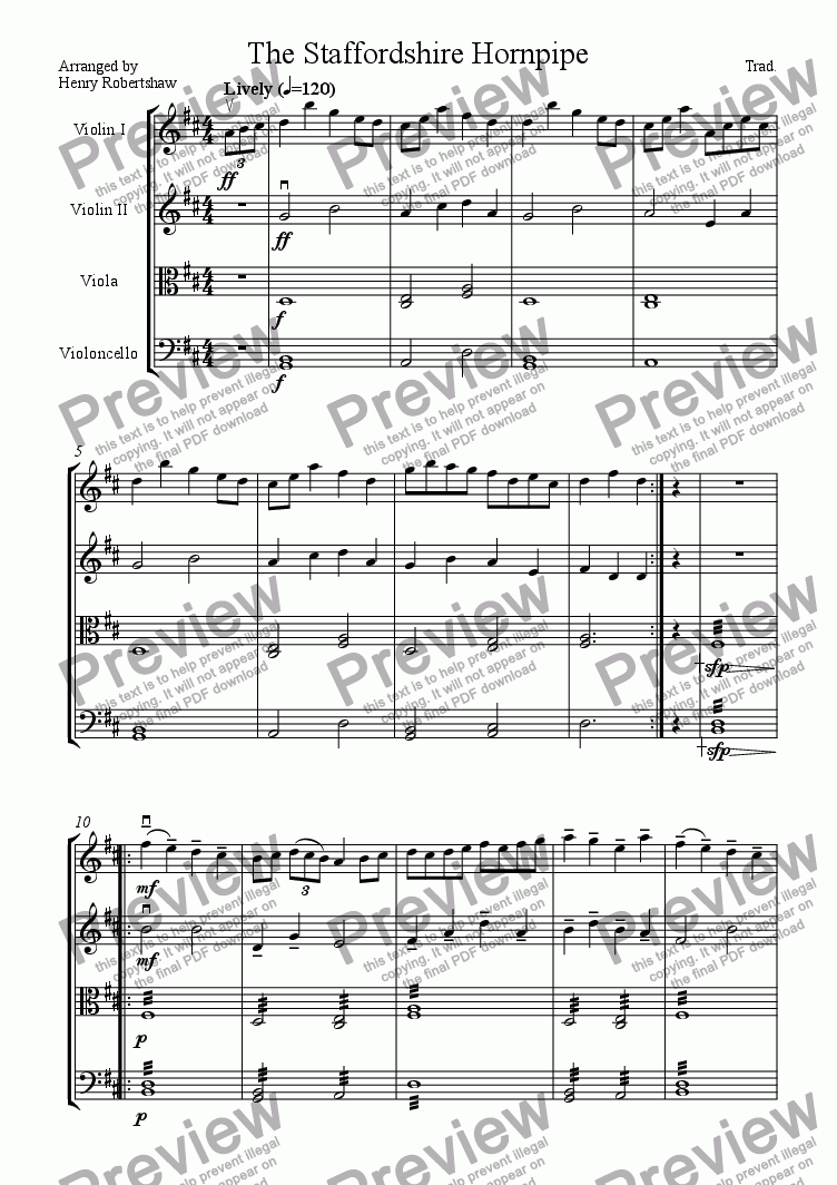 page one of The Staffordshire Hornpipe