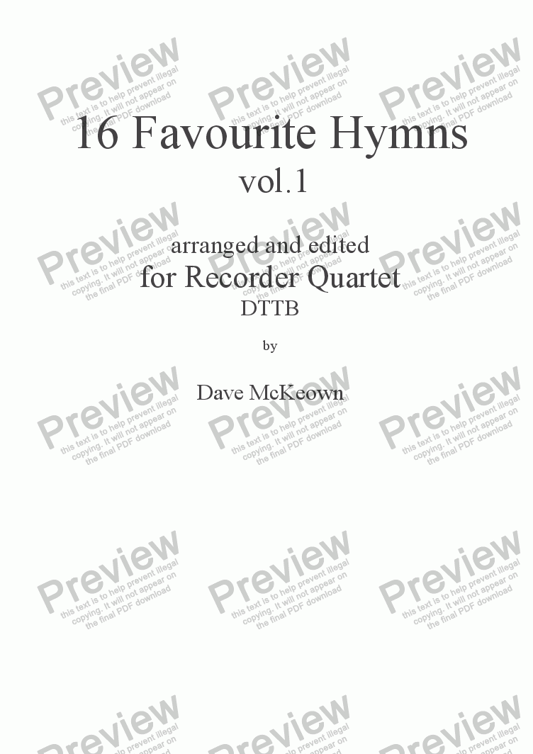 page one of  16 Favourite Hymns Vol.1 for Recorder Quartet