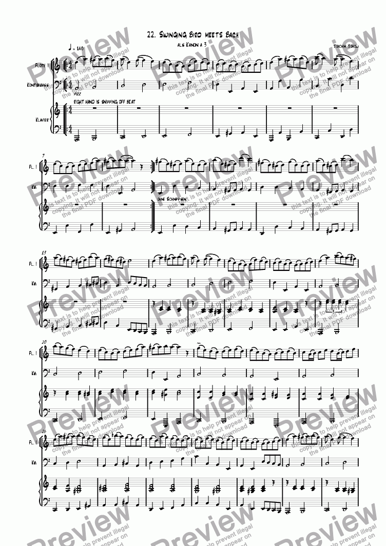 page one of Grand Canon 22  Swinging Bird meets Bach- 3 Fl