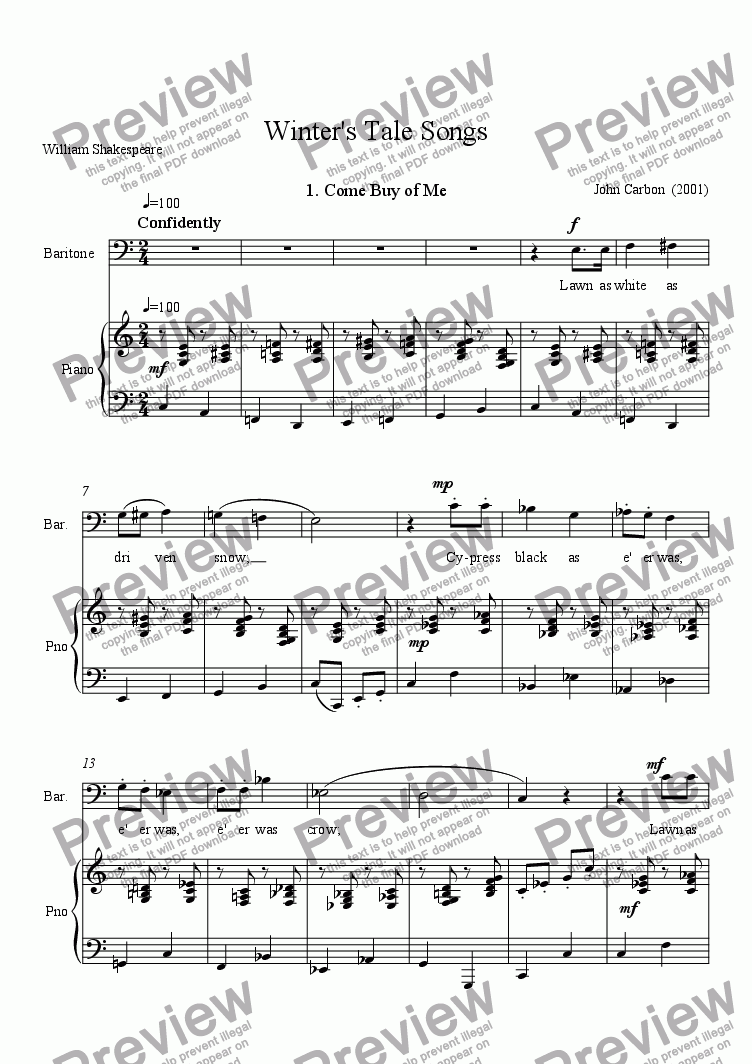page one of Winter's Tale Songs