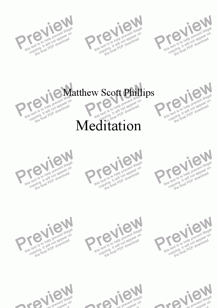 page one of Meditation