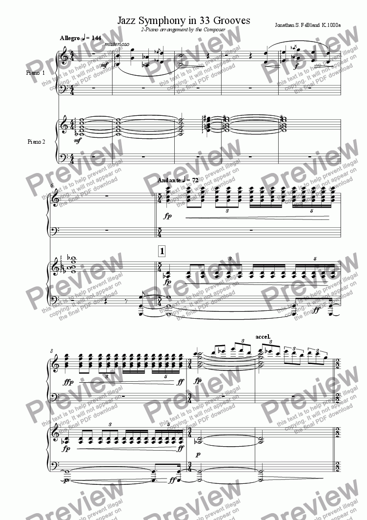 page one of Jazz Symphony - 2 Piano vers.