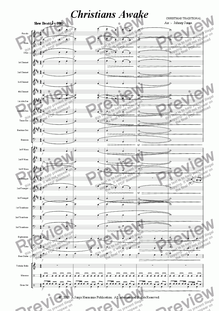 page one of Christians Awake  (Concert Windband, Slow Latin Beat feel)
