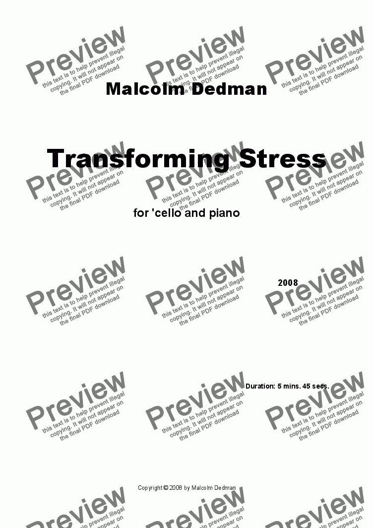 page one of Transforming Stress