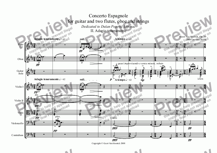 page one of Concerto No. 1 Espagnole in D minor for guitar and two flutes, oboe and strings - II Adagio teneramente