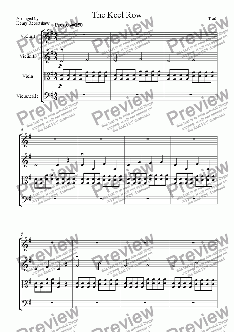 page one of The Keel Row Hornpipe