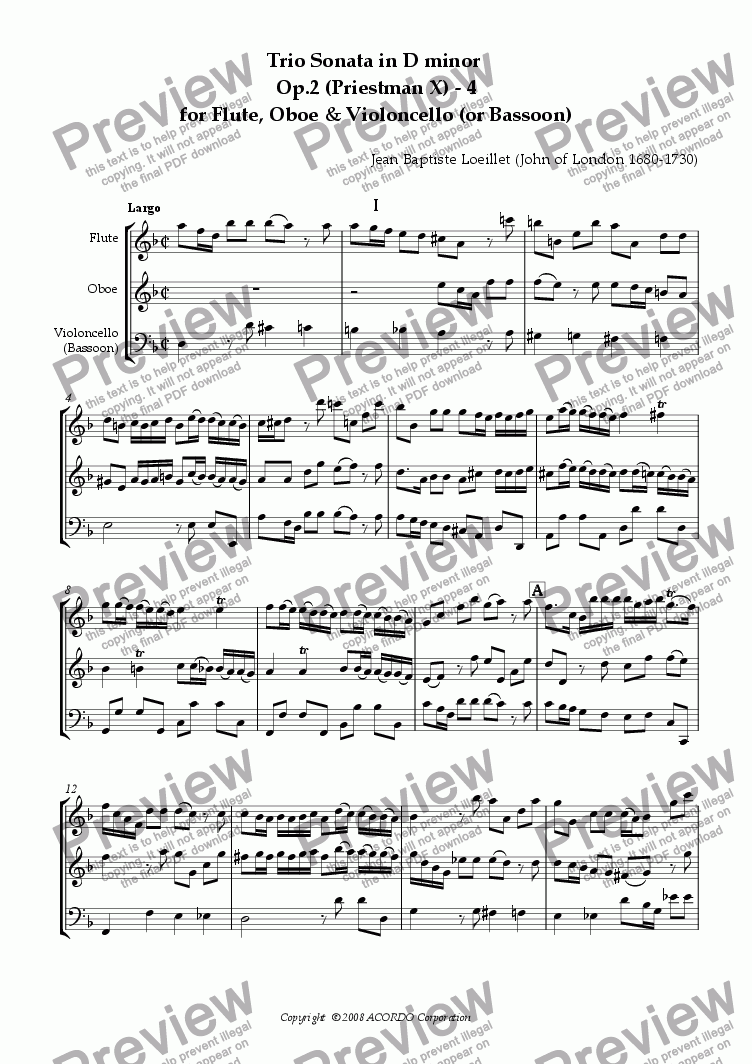 page one of Trio Sonata in D minor  Op.2 (Priestman X) - 4 for Flute, Oboe & Violoncello (or Bassoon)
