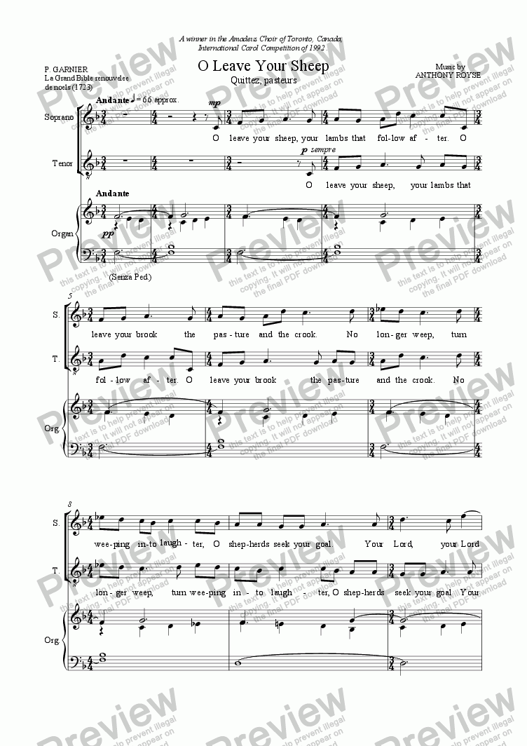 page one of O Leave Your Sheep. (SATB + Organ)