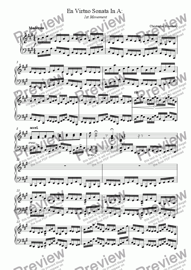 page one of En Virtuo Sonata in A major: 1st MovementASALTTEXT