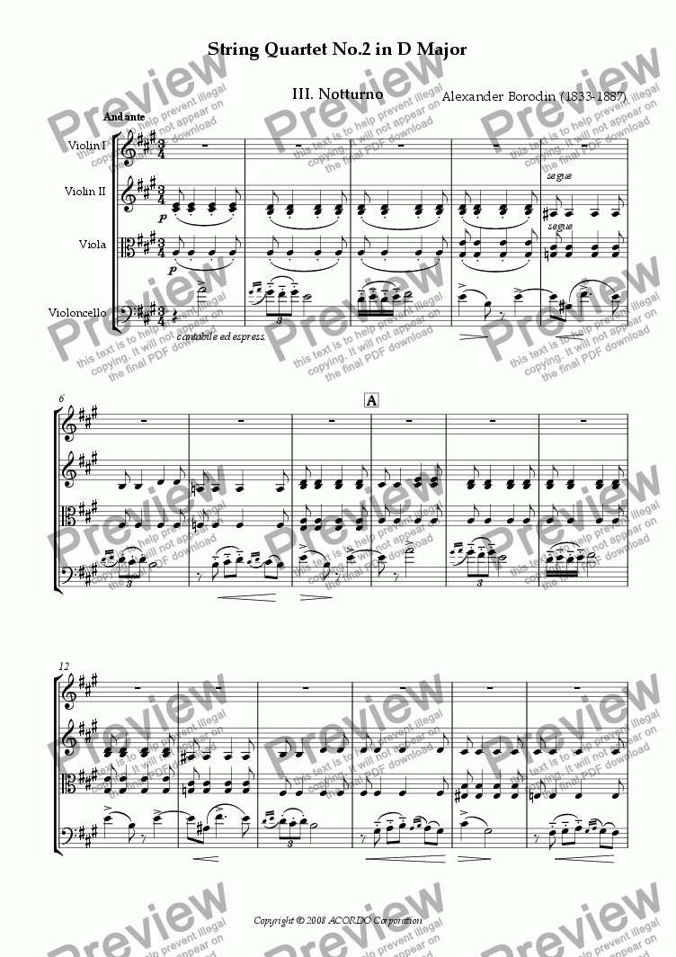 page one of String Quartet No.2 in D Major III. Notturno