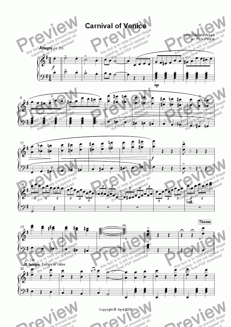 Carnival of Venice [Accordion] for Solo instrument (Accordion) by John  Babtiste Arban - Sheet Music PDF file to download