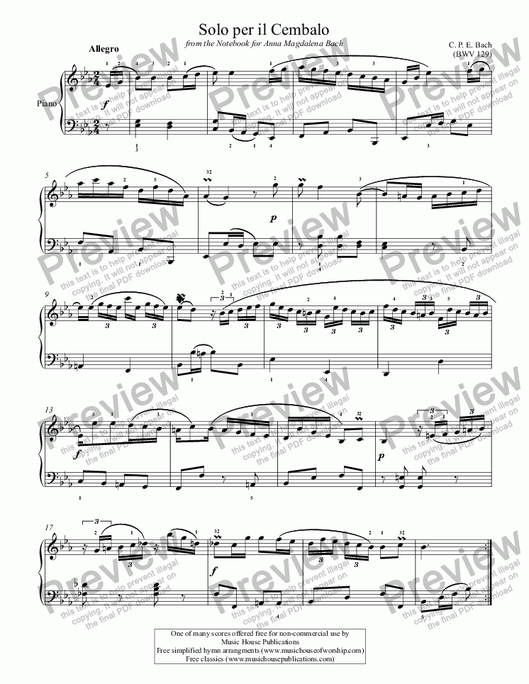 page one of Solo per il Cembalo (BWV 129)