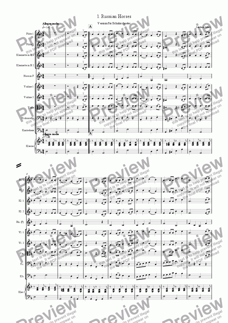 page one of My School Orchestra (01 Russian Horses - Orchestra)
