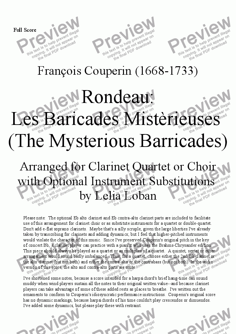 page one of The Mysterious Barricades (F. Couperin arranged for clarinet quartet/choir)
