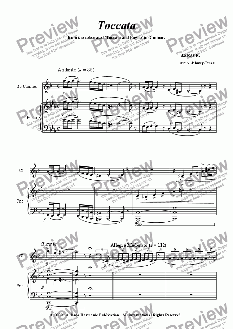 page one of Toccata   (Bb Clarinet and Piano)