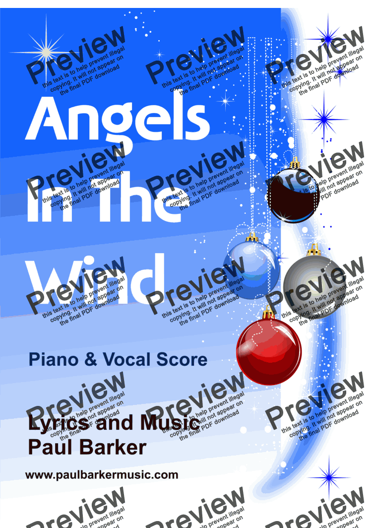 page one of Angels In the Wind (Piano/Vocal Score)