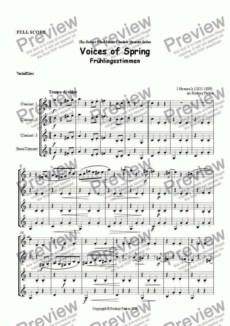 page one of Voices of Spring arr. for Clarinet QuartetASALTTEXT