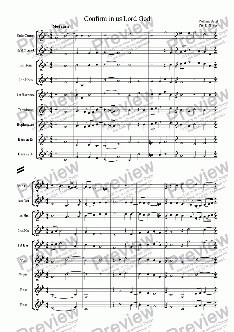 page one of Confirm in us, Lord God [Byrd]