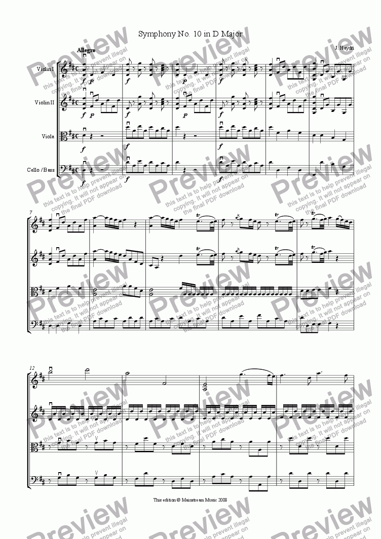 page one of Symphony No.10 in D Major