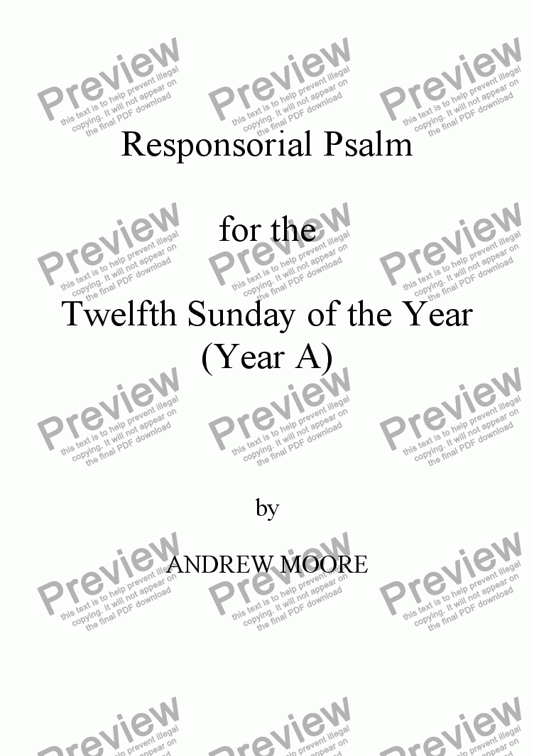 page one of Twelfth Sunday of the Year - Year A