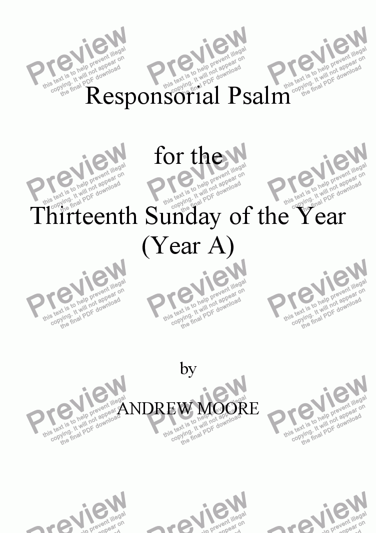 page one of Thirteenth Sunday of the Year - Year A