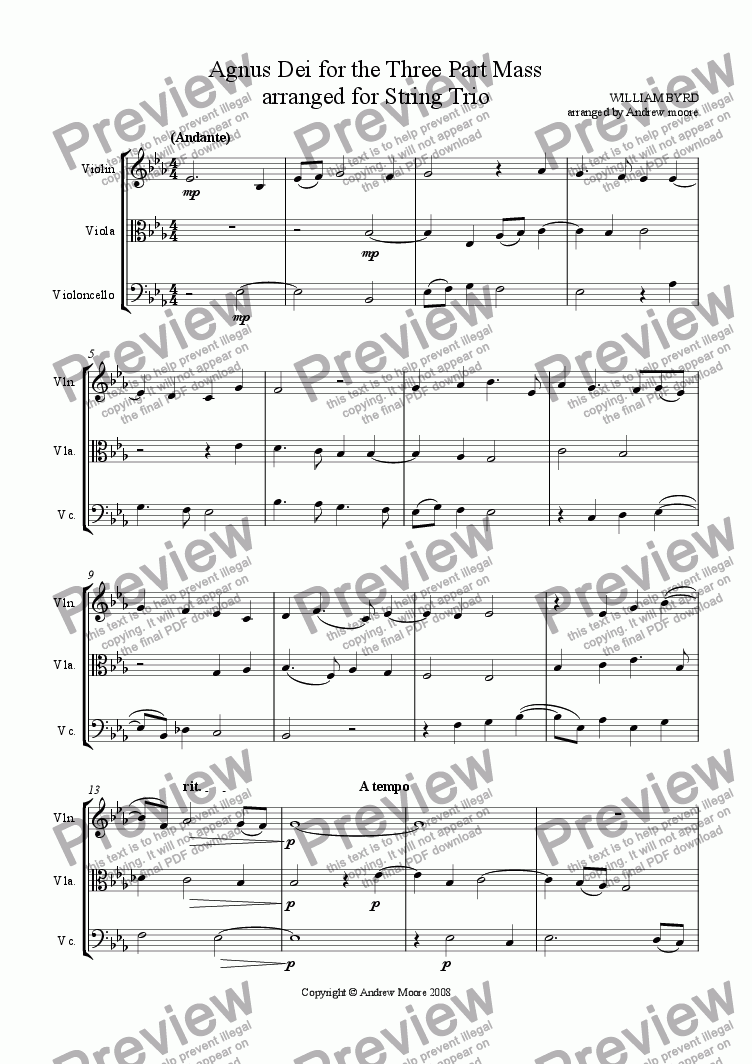 page one of Agnus Dei from the Three Part Mass arranged for String Trio