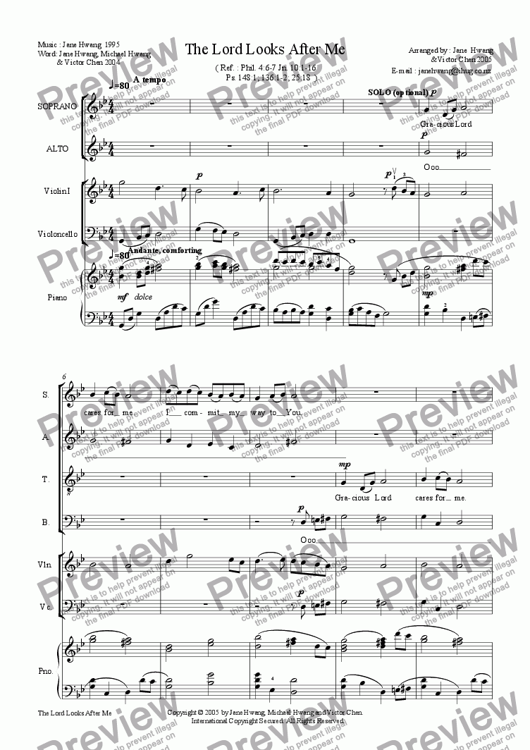 page one of The Lord Looks After Me (SATB+Vln.+Vc.+Pno.)