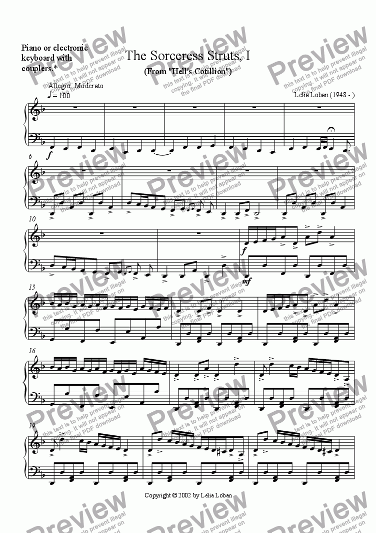 page one of The Sorceress Struts, I (piano)