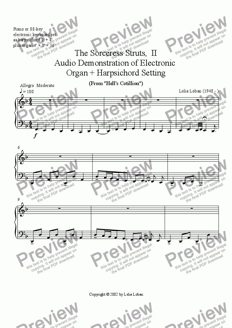 page one of The Sorceress Struts, II (electronic keyboard audio demo)