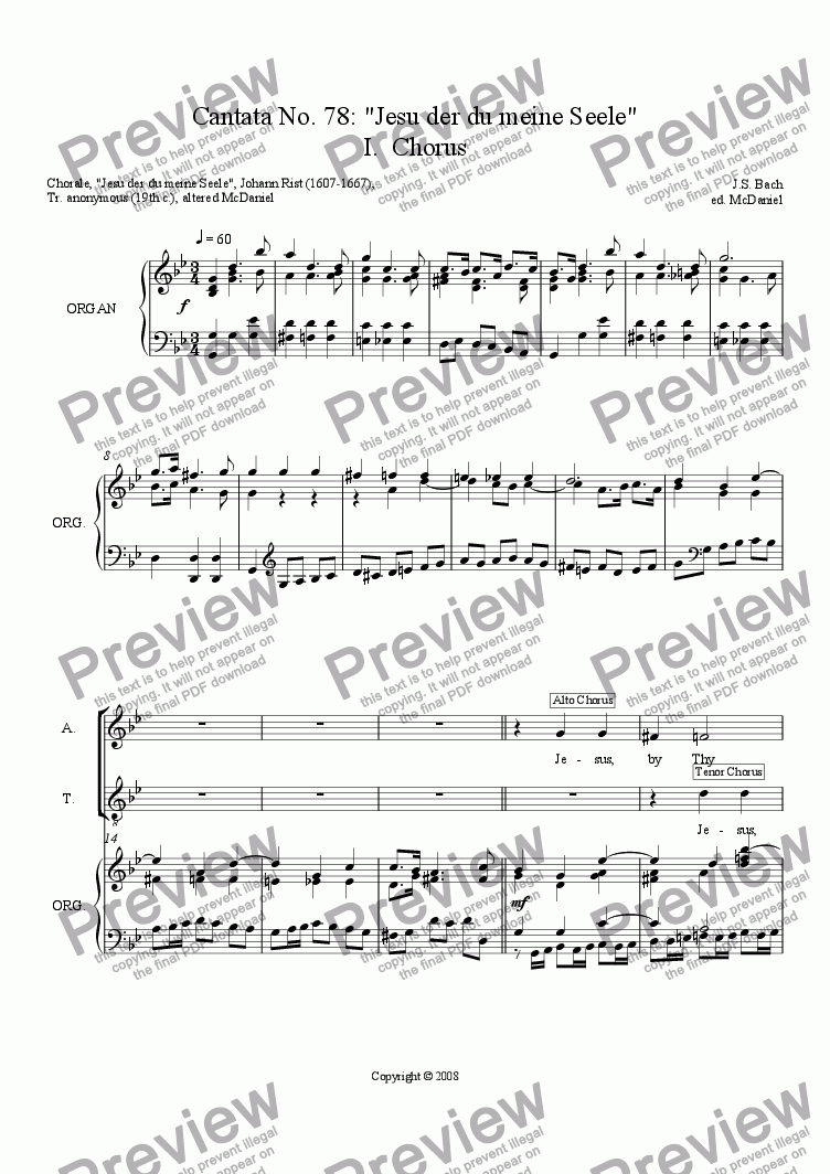 page one of Cantata No. 78: Jesus By Thy Cross and Passion
