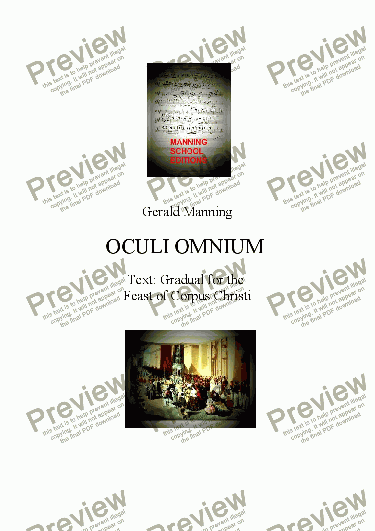 page one of Anthems For All Occasions -  Oculi Omnium, Op.23 - Manning, Gerald - A setting of the Gradual for the Feast of Corpus Christi for parish choir