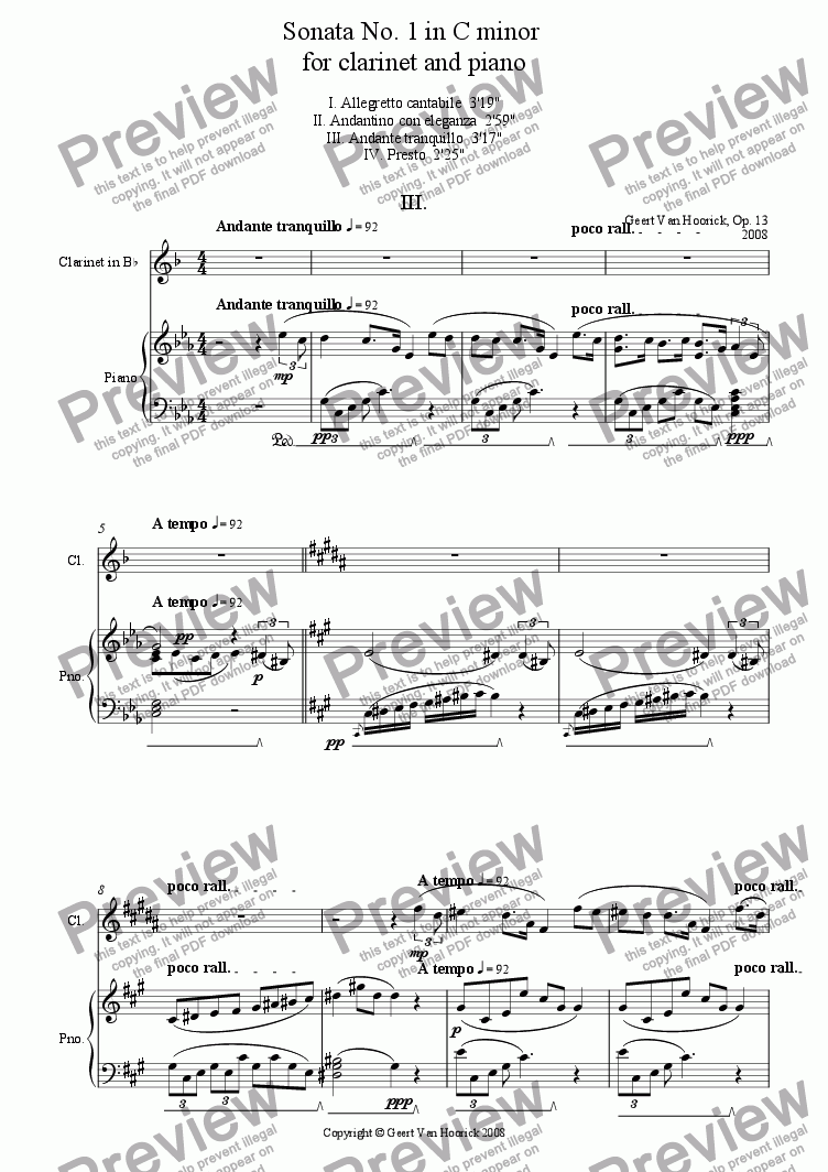 page one of Sonata No. 1 in C minor for clarinet and piano - III Andante tranquillo