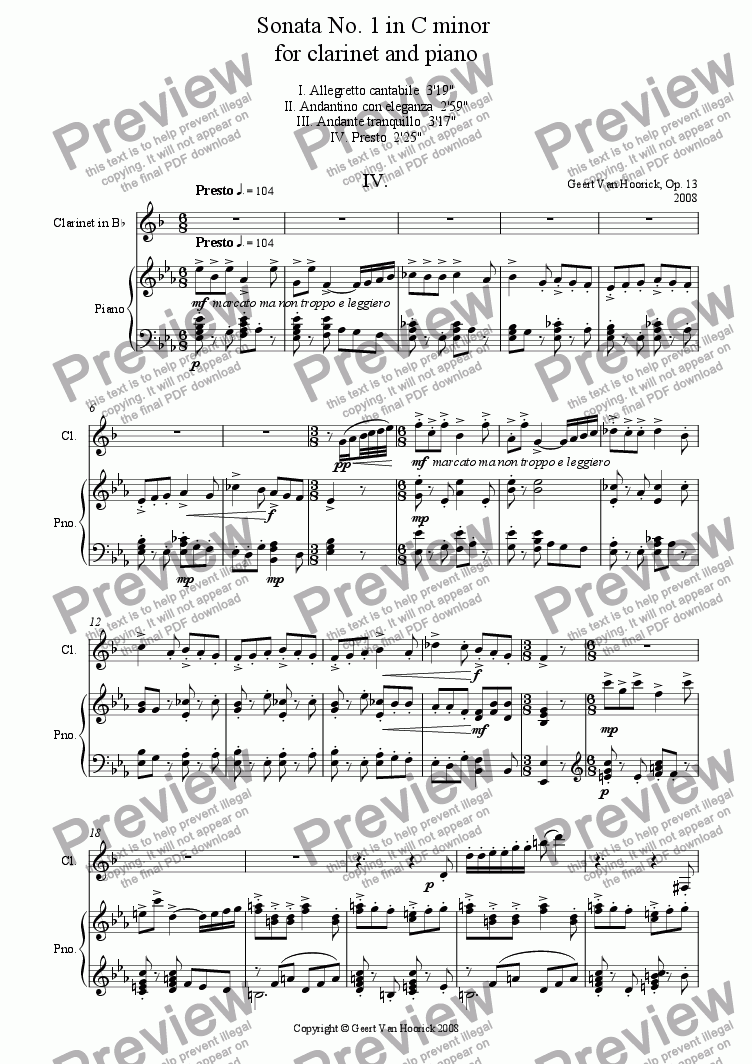 page one of Sonata No. 1 in C minor for clarinet and piano - IV Presto