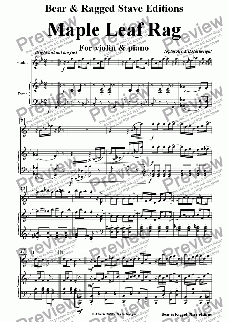 page one of Maple leaf  Rag for violin & piano