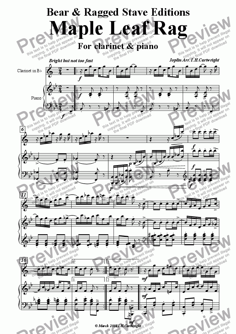 page one of Maple leaf rag for Clarinet & piano