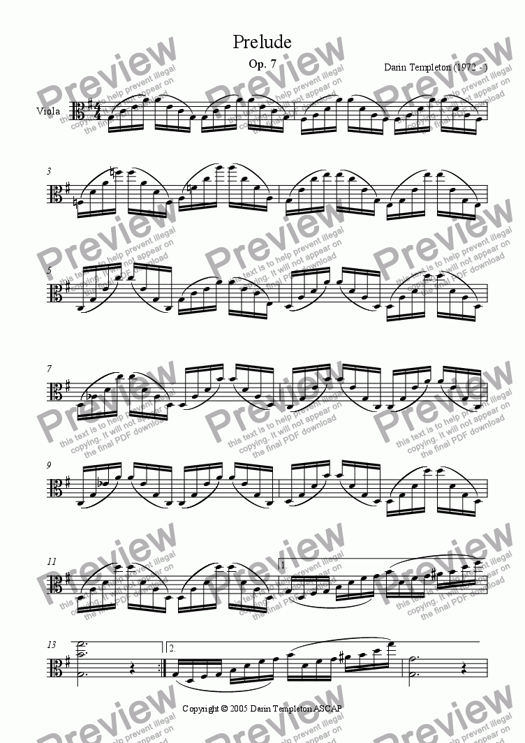 page one of Prelude for solo Viola, C Major, Op. 7