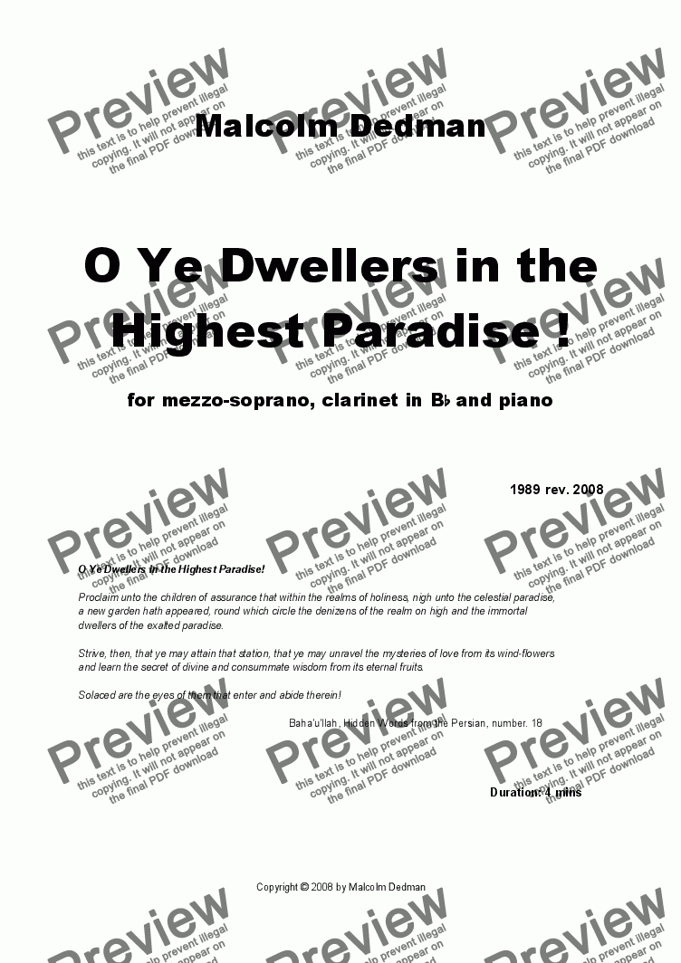 page one of O Ye Dwellers of the Highest Paradise