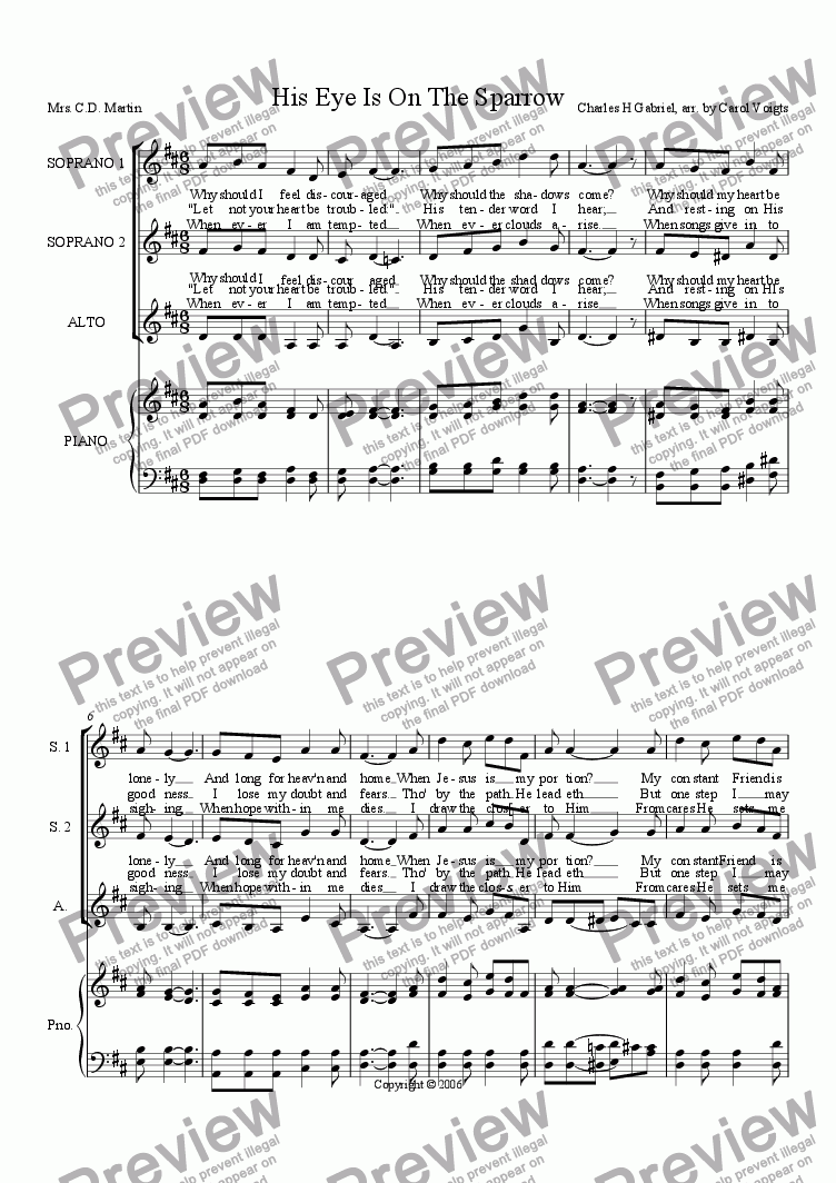 His eye is on the sparrow piano sheet music piano ideas his eye is on the sparrow medium solo j w pepper sheet music hexwebz Gallery