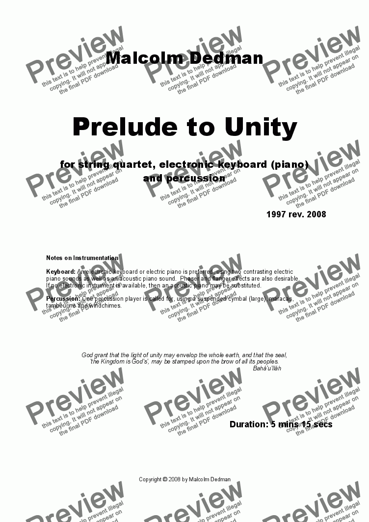page one of Prelude to Unity