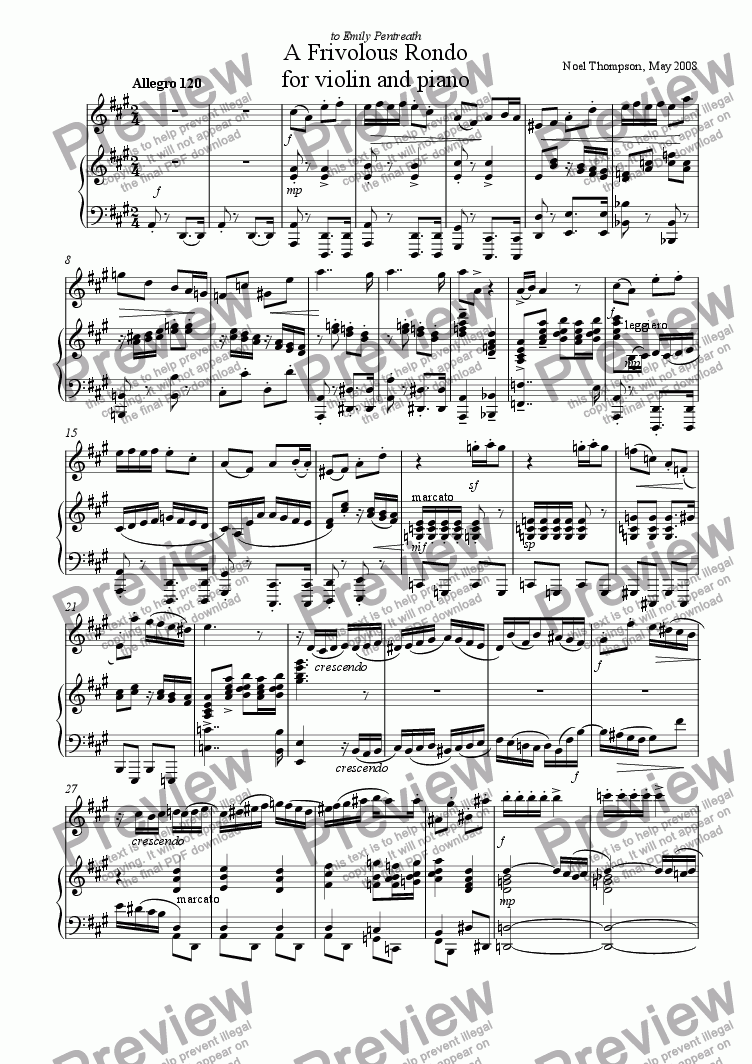 page one of Frivolous Rondo for Violin and Piano