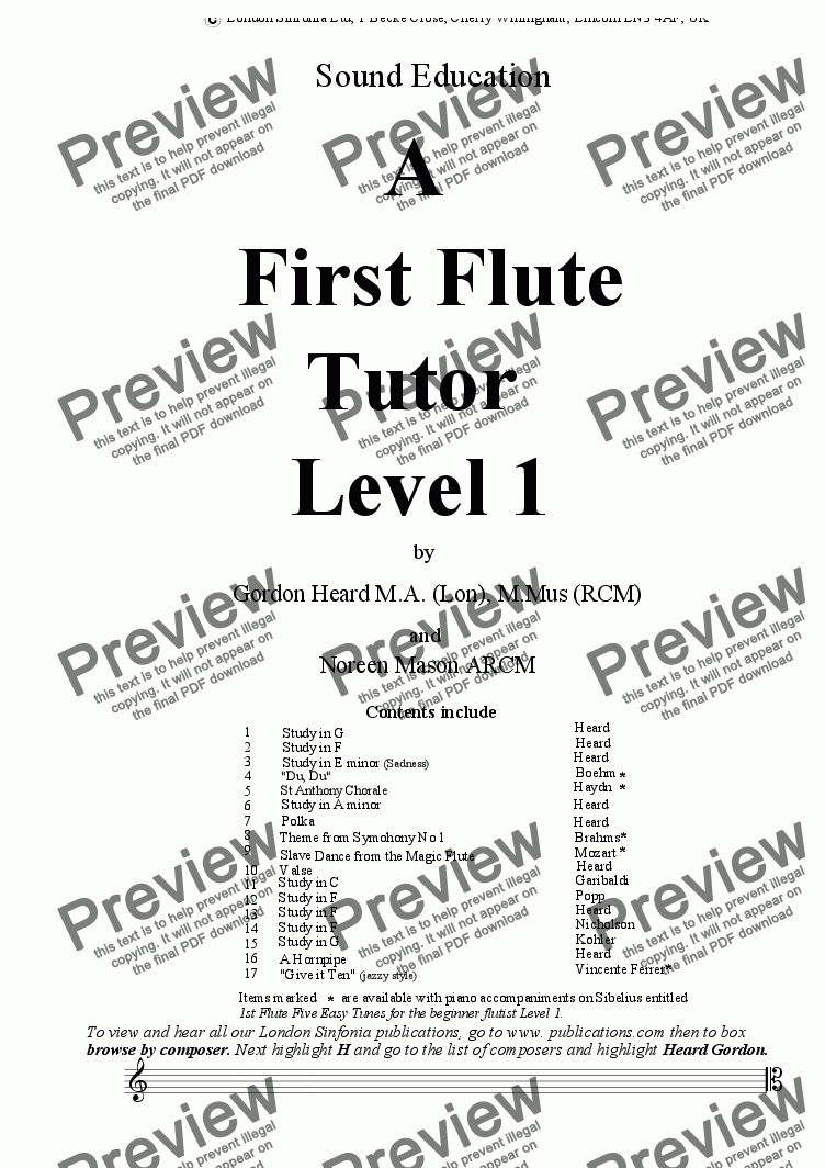 page one of A First Flute Tutor Level 1