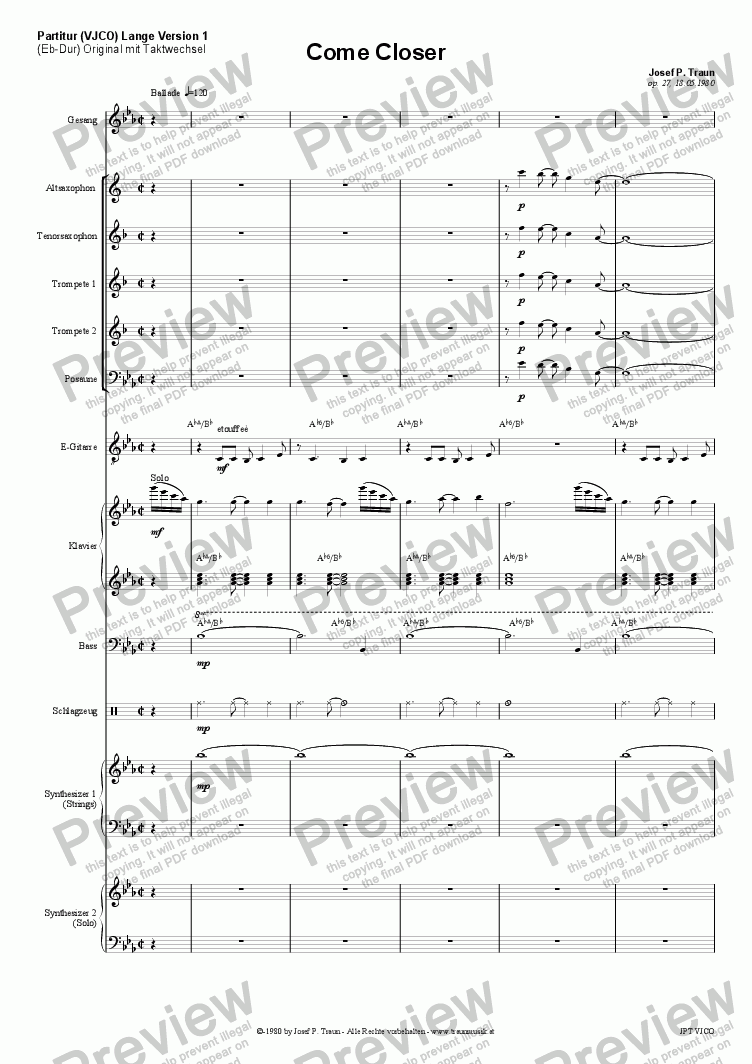 page one of Come Closer (VJCO5/Score & Parts)
