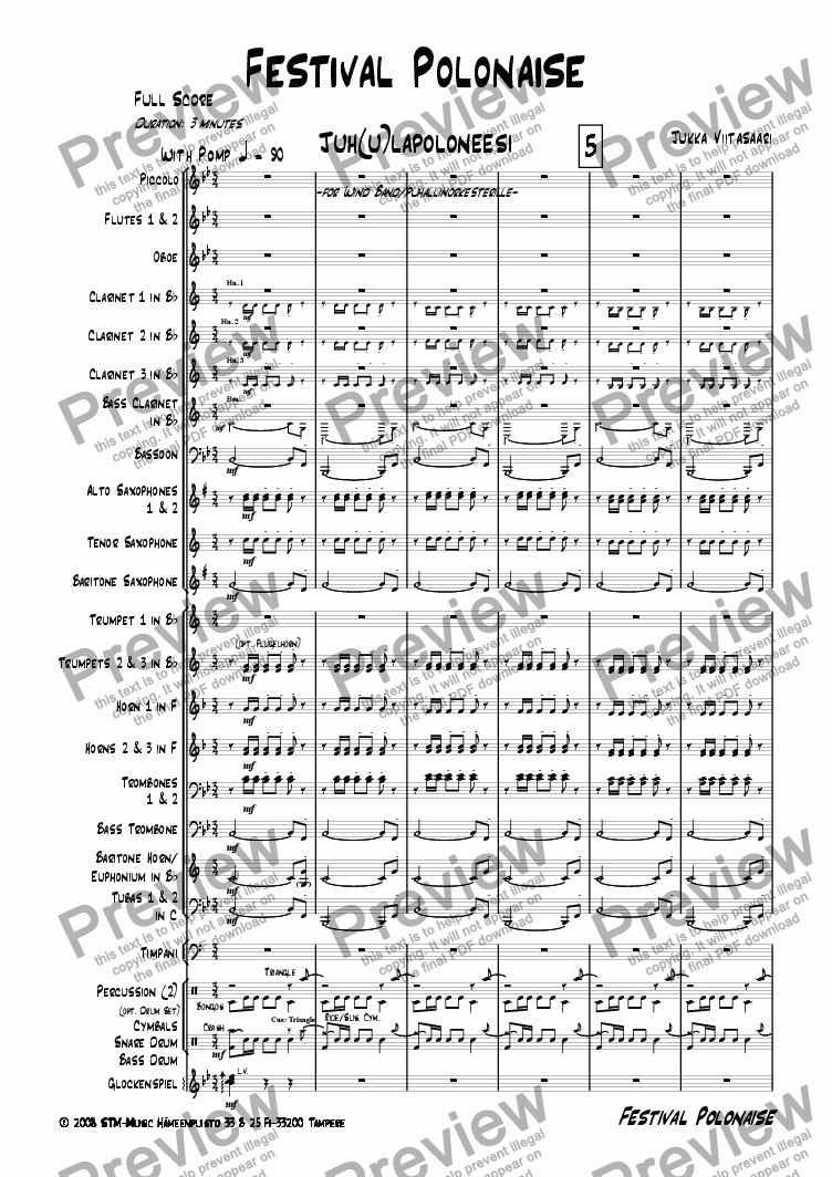 page one of Festival Polonaise (wind band)