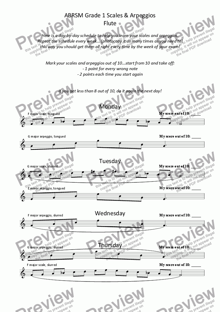 page one of Flute - Grade 1 Scale Plan