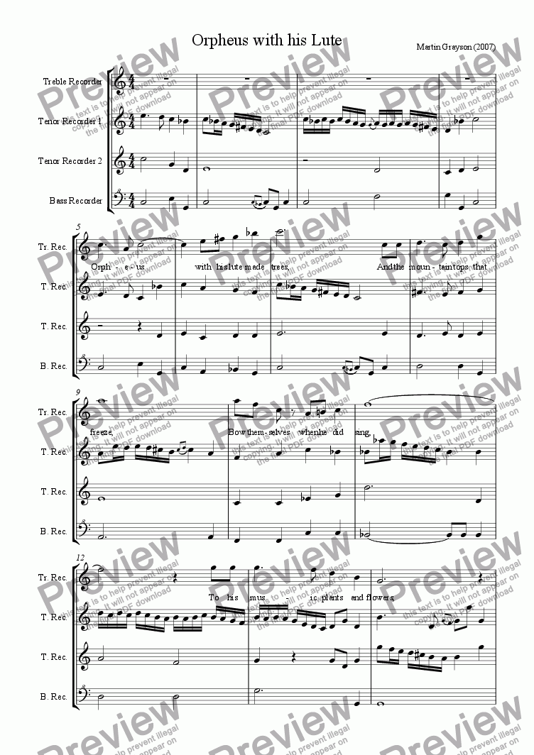 "page one of The Song ""Orpheus with his Lute"", Version for 4 recorders"