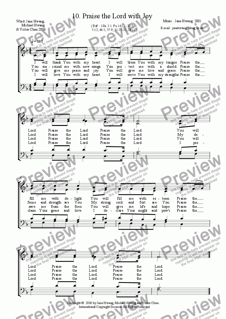 page one of Praise the Lord with Joy (four-part)