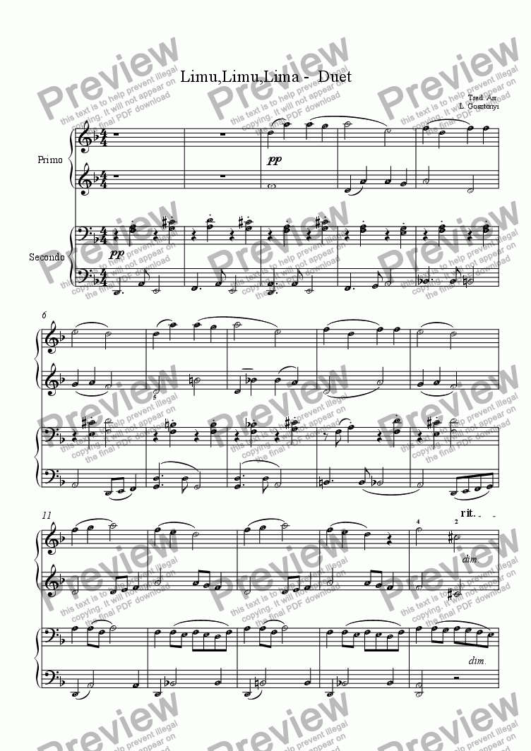 page one of Limu, Limu, Lima (Piano Duet)