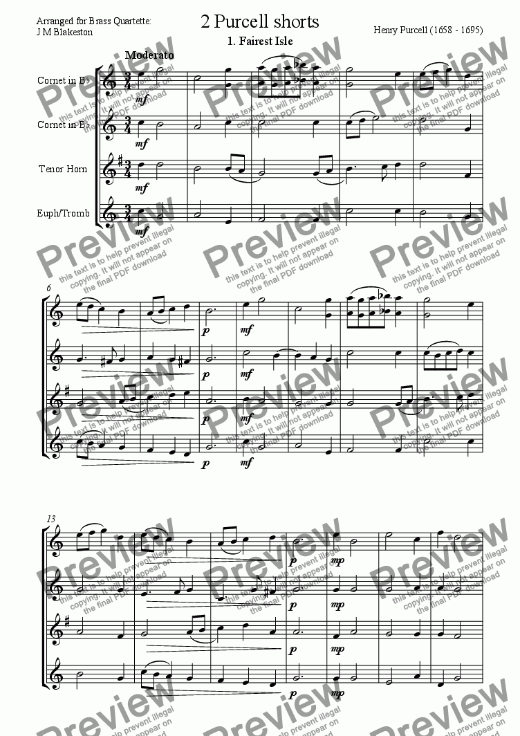 page one of 2 Purcell shorts (easy Brass Quartette)