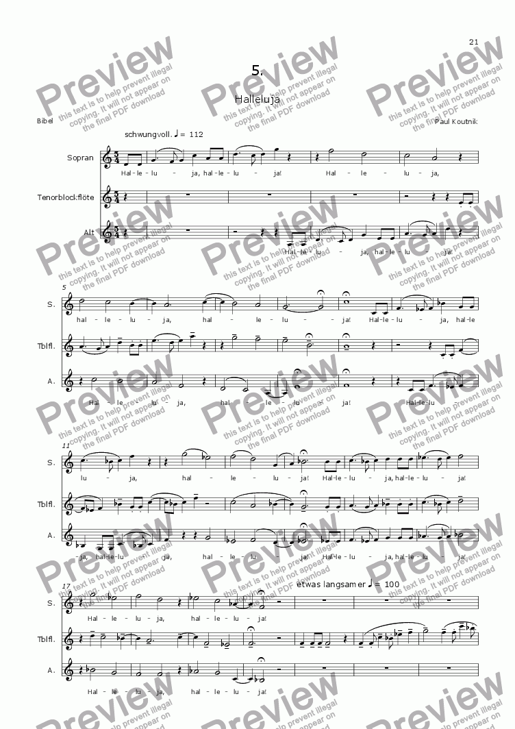 page one of Cantata 3. Engelsgesaenge 5. for Soprano, Alto & RecorderASALTTEXT