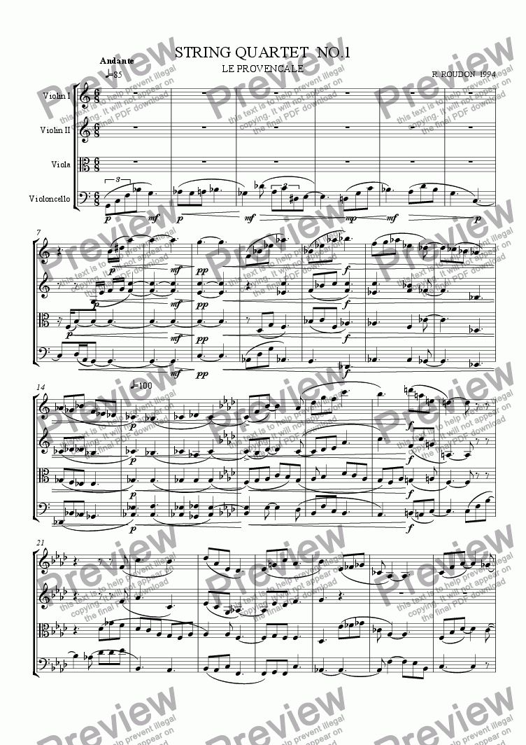 page one of String Quartet No. 1, Le Provencale, Allegro